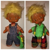 "Vintage 60s KAMAR POCKY14"" Boy Doll Poseable Denim Plaid Teardrop Eyes R... - $375.95"
