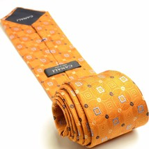 Burnt Orange Silk Necktie | Canali Geometric Mens Tie - $143.55