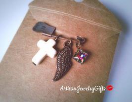 Boho Angel Wing Brooch Howlite Cross Pin Rare Vitrail Rainbow Antique Ge... - $45.00