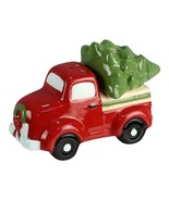 Red Pickup Truck Hauling Christmas Holiday Tree Salt and Pepper Shakers - $27.76