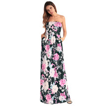 AOVEI Black Floral Print Off Shoulder Backless Party Sexy Long Beach Dress - $21.99