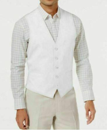 INC Men's Vest White Size Large L V-Neck Five-Button Belted-Back Pocket