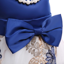Flower Girls Dress Navy Blue Lace  Wedding Girls Pageant Gowns Ball Gowns Beaded image 7