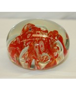Vintage Glass With Red and Orange Paperweight  - $24.74
