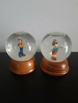 Set of 2 Disney Snowglobes Pinnocchio and Goofy Wooden Base Crystal Collection - $22.72