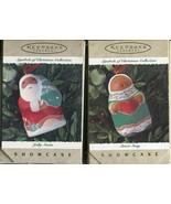 Two Hallmark Keepsake Jolly Santa & Sweet Song 1995 Christmas Ornament - $8.90