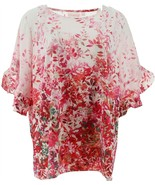 Belle Kim Gravel Wildflower Ruffle Elbow Slv Blouse Red XL NEW A351270 - $38.59