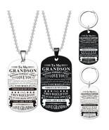 New Design Grandpa/Grandma To My Grandson I Love You Letter Dog Tag 316L... - $8.38