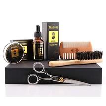 Beard Grooming Kit,5-in-1,Unscented Beard Oil and Beard Balm,Beard Brush,Barber