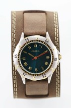 Fossil Watch Mens Battery Brown Leather Easy Read Silver Gold 50m Blue Q... - $35.08