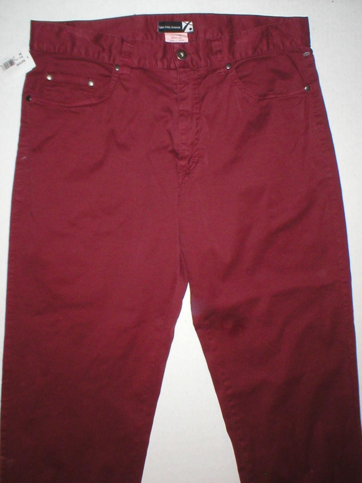 NWT New Womens Saks Fifth Avenue $148 Slacks Pants Red Dark 34 Tall 34 Inseam