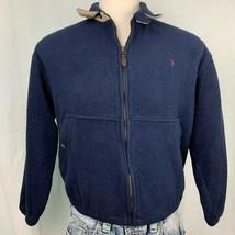 Vintage Polo Ralph Lauren Fleece Jacket M Blue Microfiber Pockets Full Z... - $79.15