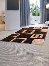 Rugsotic Carpets Hand Tufted Polyester 4'x6' Shag Area Rug Geometric Bro... - $55.00
