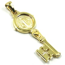 SOLID 18K YELLOW GOLD KEY PENDANT, SAINT BENEDICT MEDAL, CROSS, 1.2 INCHES image 2