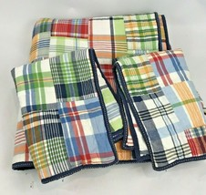 Pottery barn Kids Full Queen Madras Plaid Quilt & Pillow Shams Patchwork... - $168.29