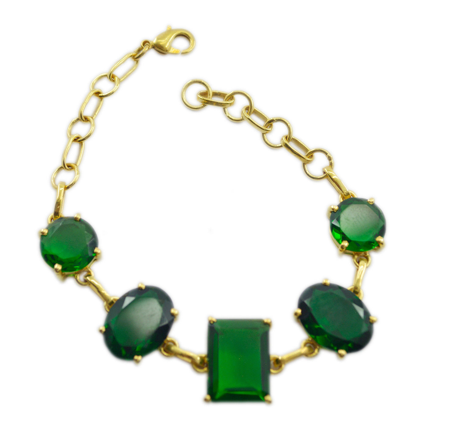 splendid Emerald CZ Gold Plated Green Bracelet Natural usually US gift