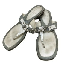 Cole Haan Womens White Leather T-Strap Thong Slip-On Sandals Shoes Sz 9.5 - $21.78