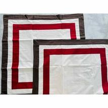 """Restoration Hardware Euro Sham Brown Red Hotel Stripe Border 30"""" Italy Cotton - $48.38"""