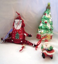 3 Christmas Ornaments Glass Tree Ornament Running Santa Wooden Dancing S... - $11.99