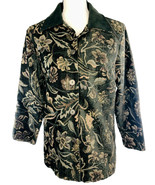 SUSAN GRAVER Women's Jacket Tapestry Olive Green Floral Button Up Overco... - $16.86