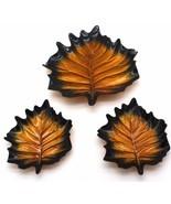 Set 3 Leaf Shaped Metallic Gold Bronze Serving Plates Platters Fired Gla... - $49.49