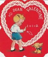 Vintage Valentine Card Boy Writes With Chalk Puppy Dog A-Meri-Card 1940's - $7.91
