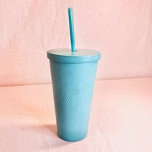 Starbucks 2016 Metal Light Blue 16oz Tumbler with Straw - $24.75