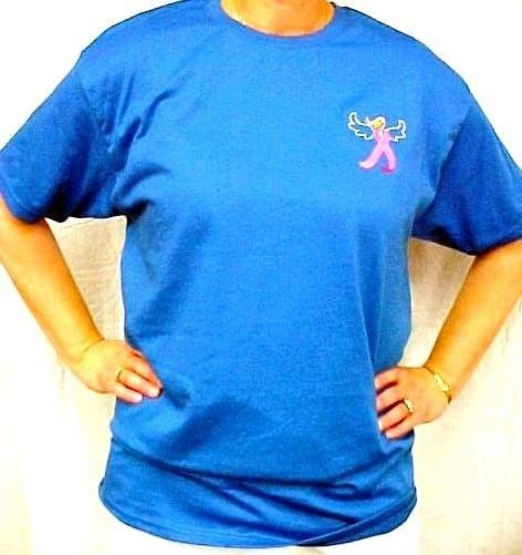 Pink Ribbon Angel T Shirt Royal Blue 3XL S/S Breast Cancer Awareness Unisex New