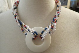 Monet Necklace Mulit Strand Color Designer 1980s Vintage Red White Blue ... - $24.74