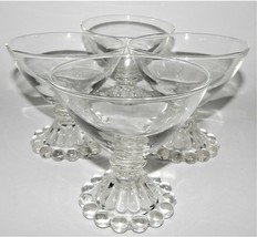 4 Anchor Hocking Clear Boopie Sherbet Glass Bowl Crystal  Vintage Beaded... - $27.71