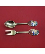 Christmas by A. Michelsen Sterling Silver Fork and Spoon Set 2pc 1968 Ve... - $187.11