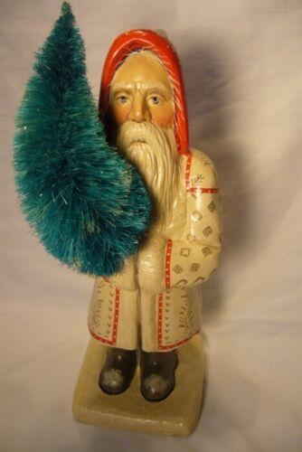 Vaillancourt Folk Art , Large White  Coat Father Christmas signed by Judi