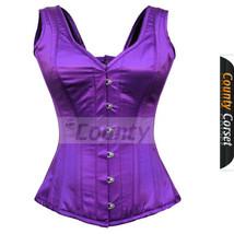 Full Steel Bone Spiral Over bust Strap Halter Bustier Gothic Purple Sati... - $50.98+