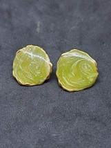 Vintage Enamel Green Studs Gold Tone Women Style Jewelry Round Fashion Retro - $7.42