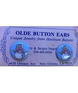 Heirloom Button Earrings Cat In Apron Pierced Studs New Orleans - $12.99