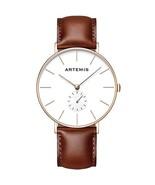 Artemis Classic Watches | 40 MM Men's Analog Minimalist Wrist Wear White | Brown - $67.01