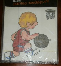 """Bucilla Painted Needlepoint, Basketball, about 14"""" sq. with instructions - $9.74"""