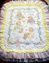 "Handcrafted - Quilted & X Stitched ""SOMEONE NEW"" Baby Quilt Crib Cover  - $179.99"