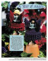 Y038 Crochet PATTERN ONLY Clothespin Angels Poinsettia & Chrysanthemum Doll - $11.50