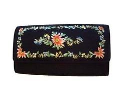 Vintage Purse Black  Embroidered Clutch  Floral Evening Bag 1960S - $16.26