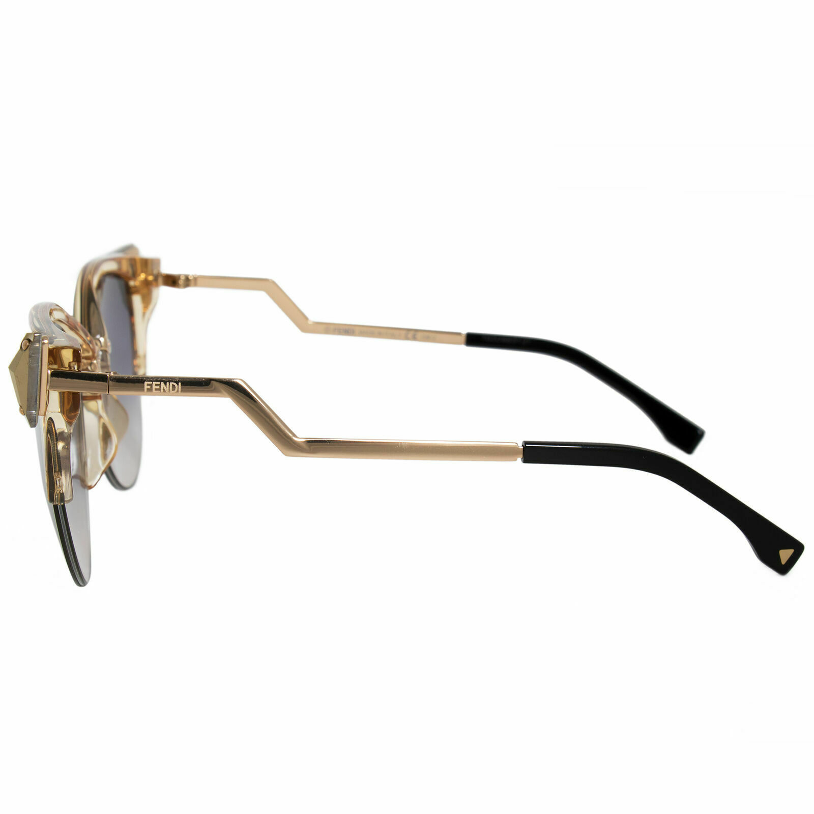 NEW FENDI IRIDIA FF 0041/S Gold/Grey-Brown Mirrored 27L/FQ Cat Eye Sunglasses