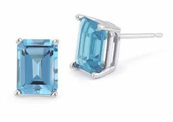 Primary image for 14k White Gold 4mmx6mm Emerald Cut Blue Topaz 4-Prong Stud Earrings