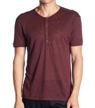 John Varvatos Collection Men's Short Sleeve Linen 4B Henley Shirt Cranbe... - $79.22