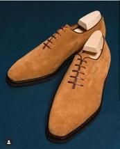 Handmade Men's Tan Suede Dress/Formal Oxford Shoes image 1