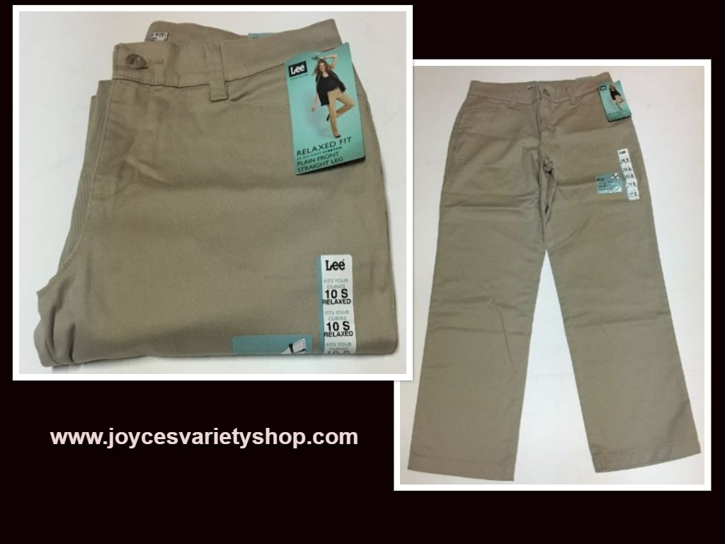 Lee Relaxed Fit Stretch Beige Pants Sz 10 Short Straight Leg NWT