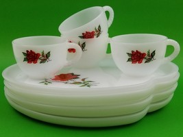 8 Piece Set 4 Serving Tea Cup Plate White Red Rose Federal Glass Rosecre... - $32.64