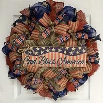 God Bless America Patriotic Burlap Wreath Handmade Deco Mesh - $94.99
