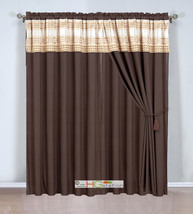 4P Plaid Striped Embroidery Curtain Set Valance Drape Liner Champagne Go... - $30.74