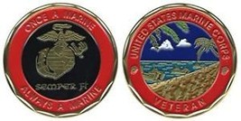 USMC MARINE CORPS VETERAN FULL  COLOR  CHALLENGE COIN - $13.53
