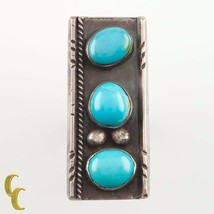 Silver Three Turquoise Plaque Ring Size 6.5 Nice Patina! Great Gift - $156.31
